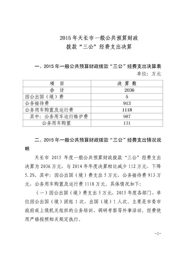 """2015年天长市""""三公""""经费财政拨款支出决算.jpg"""